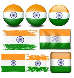India flag on different objects vector
