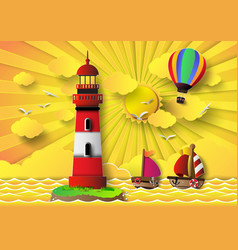 lighthouse with seascape and sun set vector image vector image