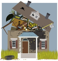 Mold on a rundown house vector
