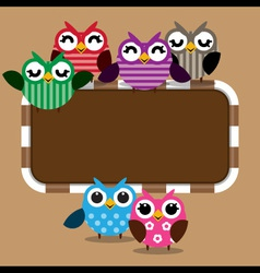 Owls family with frame vector image vector image