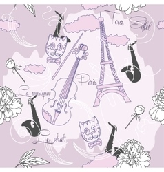 Seamless pattern with paris flowers and music-04 vector