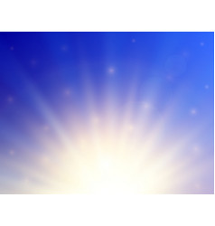 shining sun with lens flare summer background vector image