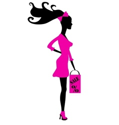 shopping girl silhouette - seasonal sale vector image