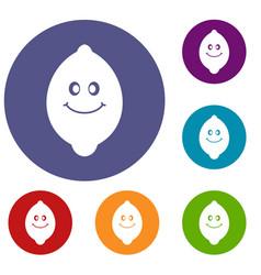 Smiling lemon fruit icons set vector