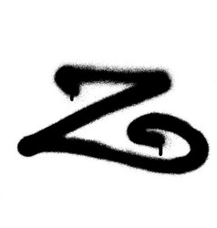 Sprayed curly z font graffiti with leak in black vector