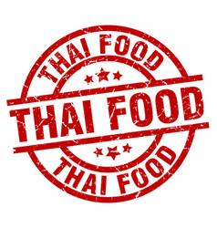 Thai food round red grunge stamp vector