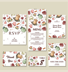 Wedding invitation template with individual vector