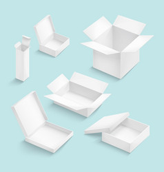 White box collection isolated on color background vector