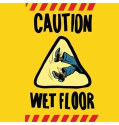 Caution wet floor feet men vector