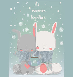 cute winter hares vector image