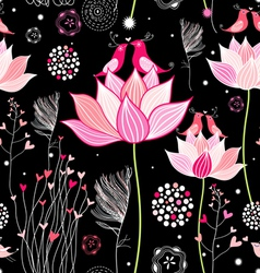 beautiful designs of flowers and birds vector image