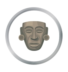 Mayan mask icon in cartoon style isolated on white vector