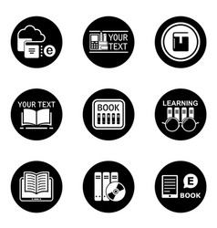 Book learning concept round icons vector