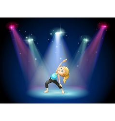 A girl exercising at the center of the stage vector