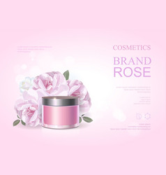 Pink beauty cosmetic product poster rose cream vector