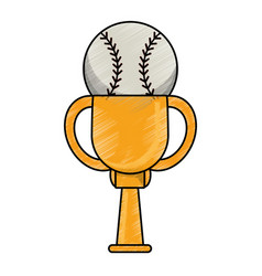 Drawing baseball winner cup prize vector