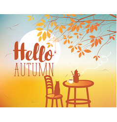 Landscape on autumn theme with cat and furnitures vector
