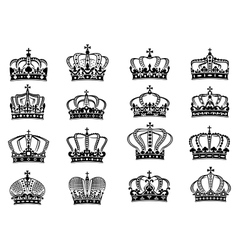 Royal crowns set in black on white background vector image