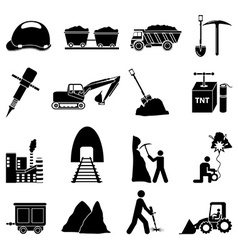 Mining construction icons set vector