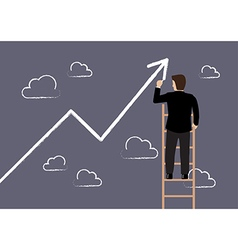 Business man standing on ladder drawing growth vector
