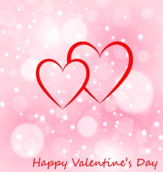 Two hearts greeting card with valentines day vector