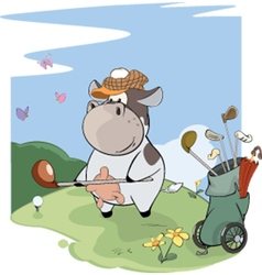 Little golfer cow cartoon vector