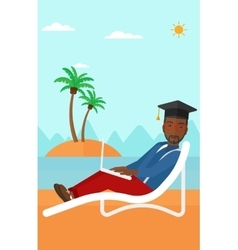 Graduate lying on chaise lounge with laptop vector