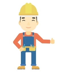Builder showing thumbs up vector