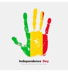 Handprint with the flag of mali in grunge style vector
