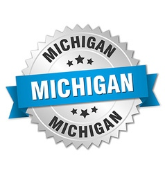 Michigan round silver badge with blue ribbon vector