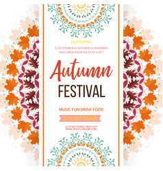 Autumn festival background invitation banner with vector