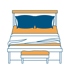 bed wooden with blanket and pair pillows with vector image vector image