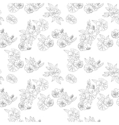 Black and white flowers on white background vector