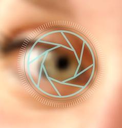 Blurred photo eye camera lens concept vector