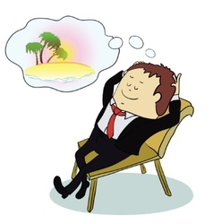 Businessman dreaming about vacation vector