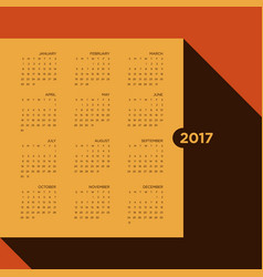 calendar 2017 for a year vintage style vector image