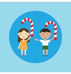 Children and christmas candy vector