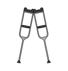 Color graphic pair of medical crutches icon vector
