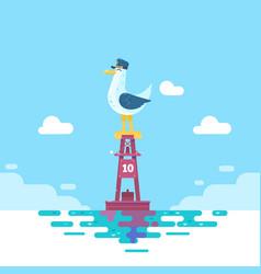 colorful seagull bird on blue calm sea coast vector image