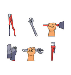 Flat plumbing tools equipment set vector