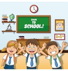 Girl and boys cartoon of back to school design vector