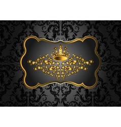 Golden vintage invitation card with lot of vector