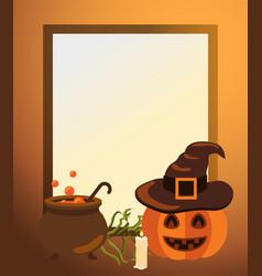 Halloween frame with pumpkin in hat old cast vat vector