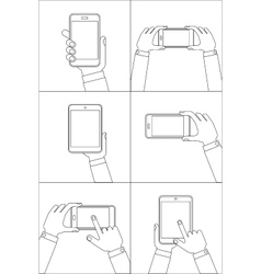 Hands holding mobile phones vector