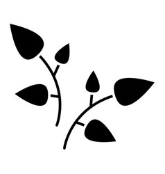 leaf branches icon black vector image vector image