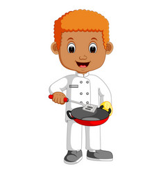 little chef cartoon with frying pan vector image vector image
