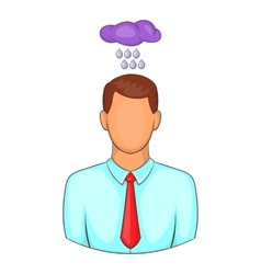 Man with cloud over his head icon cartoon style vector