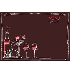 Menu card for loversLove card romantic dinner vector image vector image