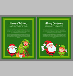 Merry christmas new year poster santa and elf vector