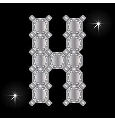 Metal letter H Gemstone Geometric shapes vector image
